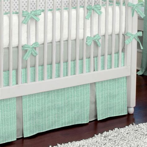 Ruffle Crib Bedding Mint Herringbone Crib Skirt Two Front Pleats Creative The Box And Dust Ruffle