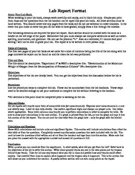 chemistry lab report format handout by dr lyons tpt