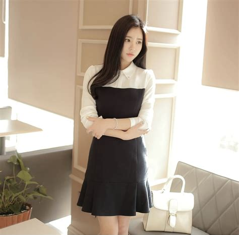 Grosir Colla korea collar dress import ds4198 black tamochi