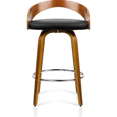 Bar Stools Leather And Wood by 2x Faux Leather Wood Rail Bar Stool Walnut Buy Wooden