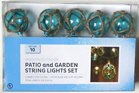 Nantucket Nautical Blue Buoy Float Patio And Garden String Glass Float String Lights