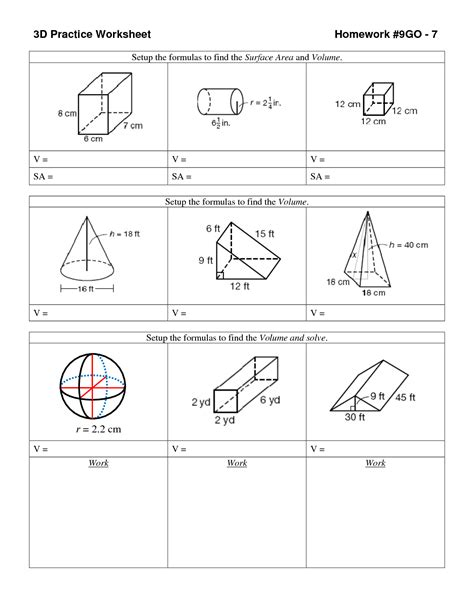 Surface Area And Volume Worksheet by 14 Best Images Of Volume Of Shapes Worksheets Surface