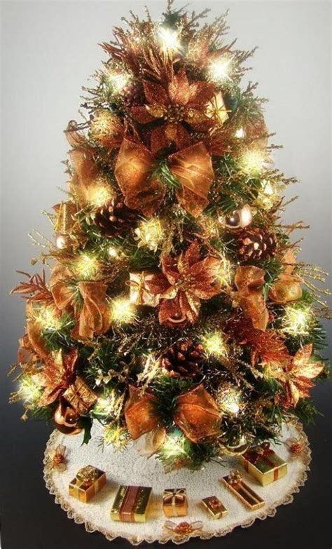 decorative mini tabletop christmas tree copper gold