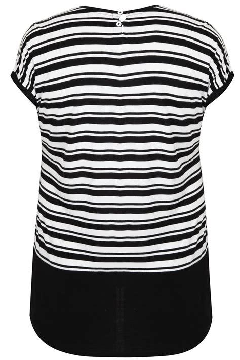 Sleeve Block Stripe White black white colour block stripe top with sleeves plus size 16 to 32