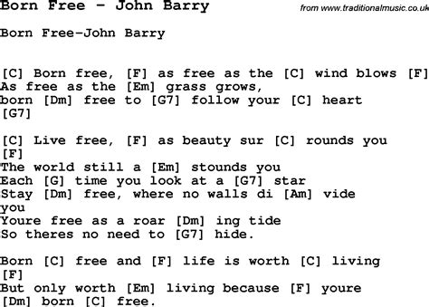 song free song born free by barry song lyric for vocal