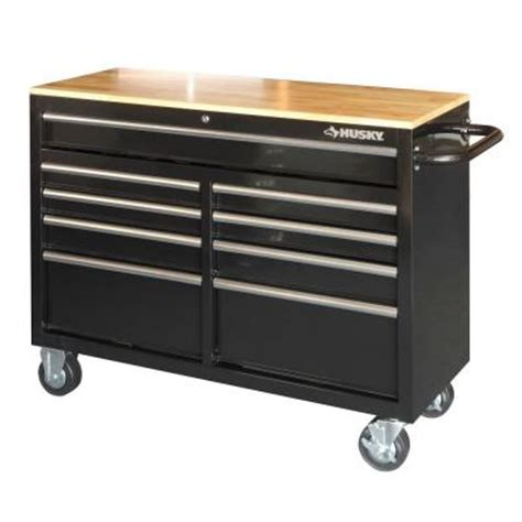 mobile tool bench husky 46 in 9 drawer mobile workbench with solid wood top