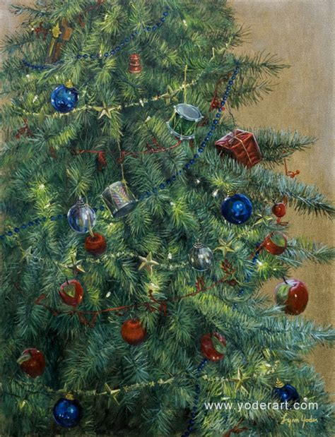 ornaments and lights christmas tree painting by lynn yoder