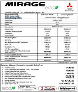 Mitsubishi Motors Price List 2015 Mitsubishi Mirage Updated For Malaysia New Kit Same