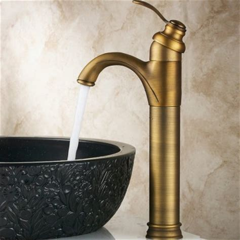 Antique Brass Bathroom Basin taps Tall Basin Mixer Tap
