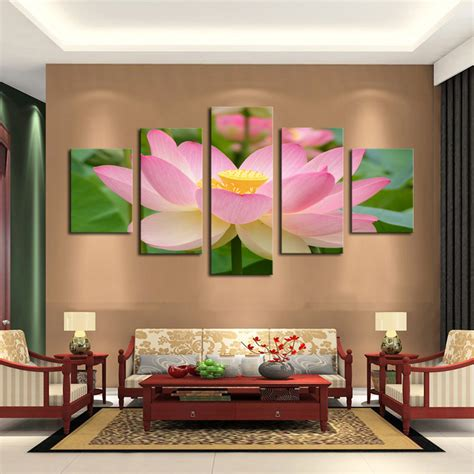 art home decoration pictures 5 panel pink lotus modern painting canvas wall art picture