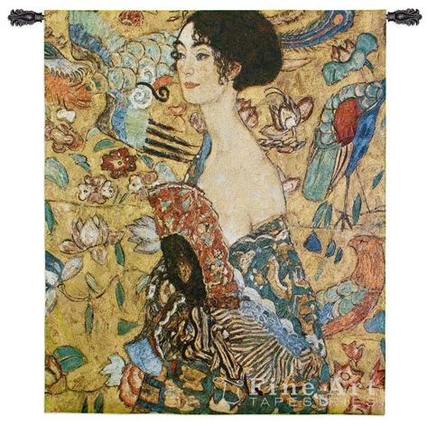 gustav klimt lady with lady with fan by gustav klimt wall tapestry painting h52