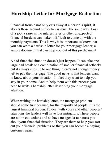 Financial Hardship Letter To Mortgage Lender Hardship Letter For Mortgage Reduction