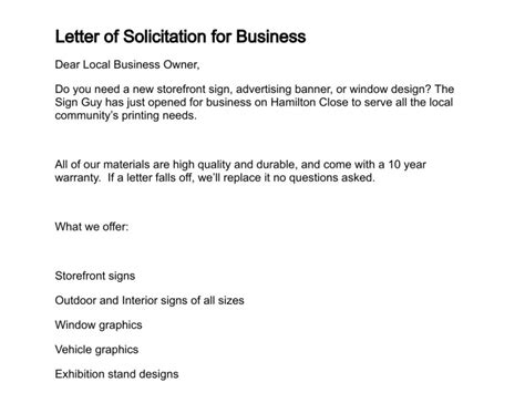 solicitation letter template sle solicitation letter for business the letter sle