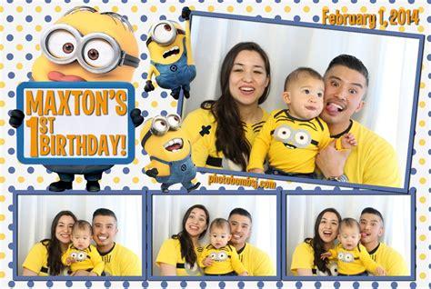 minions photo booth layout maxton s minion themed 1st birthday photo bomb