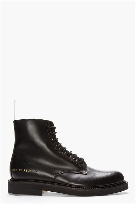 by common projects boots common projects black leather lace up combat boots in