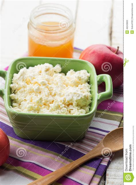 cottage cheese with honey and apple stock photo image