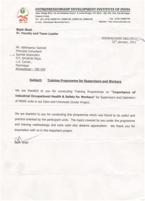 appreciation letter for institute testimonials samrat associates