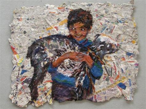 Handmade Paintings - child with goat on handmade paper by nomad hansen