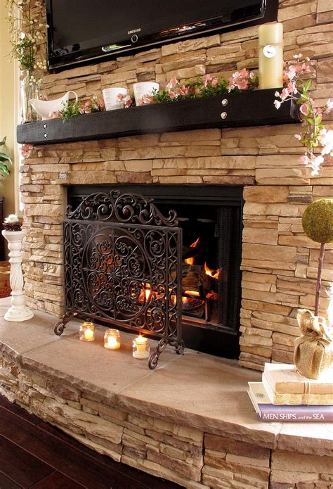 fireplace with stone stacked stone fireplaces on pinterest stone veneer