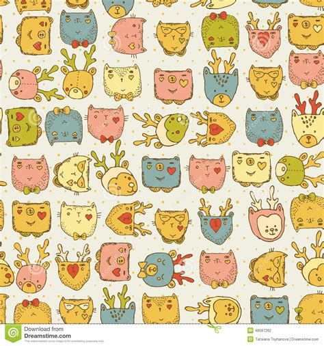 doodle animals vector free seamless pattern with animals for baby fabric