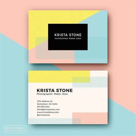 pastel color card templates business card template designs pop geometric card
