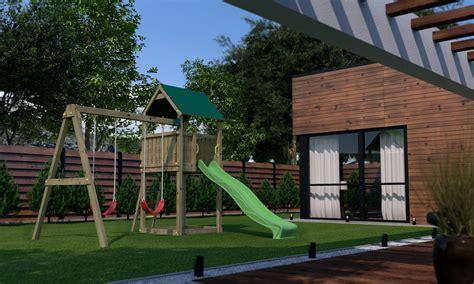 balancoire bois avec cabane portique bois avec maisonnette les cabanes de jardin