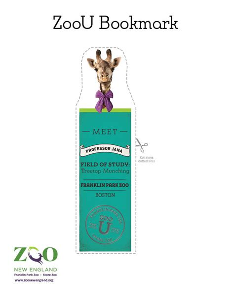printable giraffe bookmarks animal bookmarks zoo new england