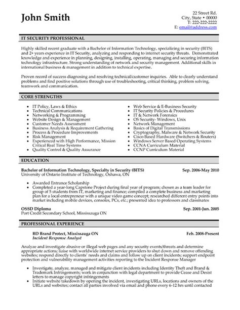 it security professional resume template premium resume sles exle