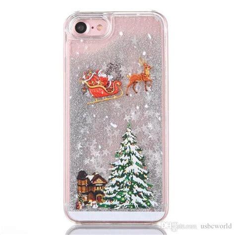 christmas tree glitter liquid star cases hard pc shining bling style  iphone