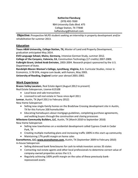 Resume Format For College Students For Internship by Resume For Undergraduate Psychology Students Guide To The