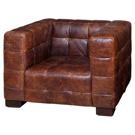 arthur rustic lodge tufted leather cube club chair kathy