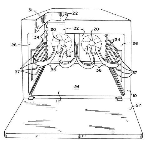 wind up convection fan patent us6943321 convection oven with forced airflow