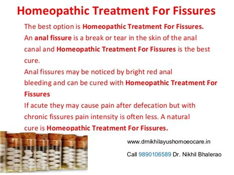 homeopathic treatment for fissures