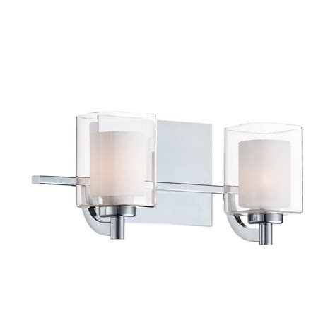 Vanity Lighting For Bathroom Shop Cascadia Lighting 2 Light Kolt Polished Chrome Bathroom Vanity Light At Lowes