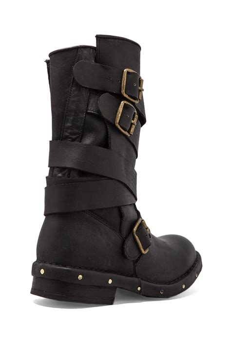 black leather moto boots lyst jeffrey cbell brit leather moto boot in black in