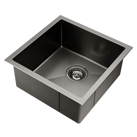 Kitchen Sink Warehouse Kitchen Sink With Waste Strainer Black 44 X 44cm Diy