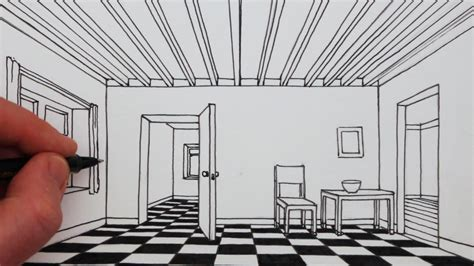 room drawing how to draw a room in 1 point perspective narrated