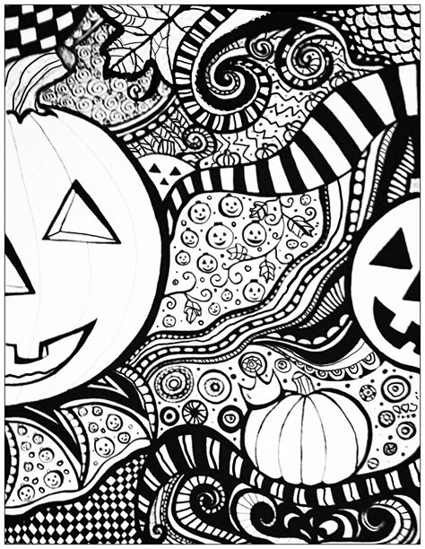 detailed pumpkin coloring page halloween a imprimer halloween coloriages difficiles
