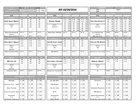 strength and conditioning templates gallery excel designs