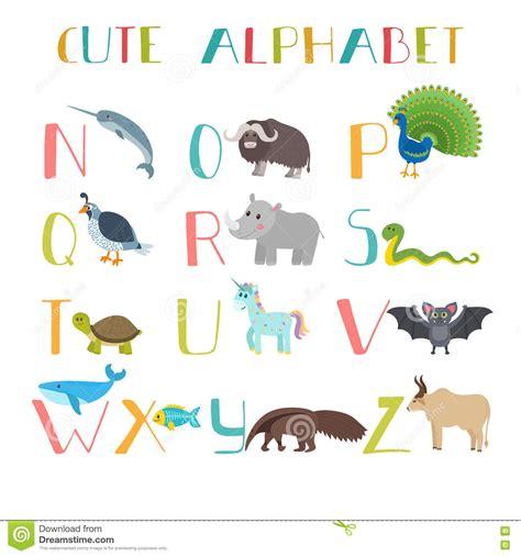 Animal Alphabet Wall Stickers zoo cute cartoon animals alphabet from n to z stock