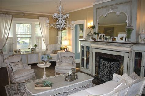 Shabby Chic Livingrooms French Country Style Living Room With Fireplace