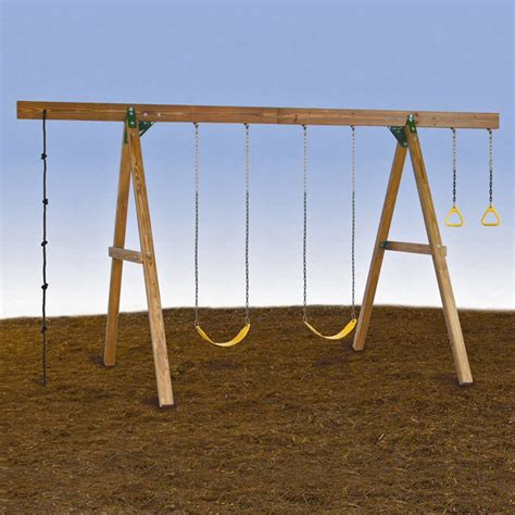 Playstar Playsets 4 Station A Frame Wood Swing Set At
