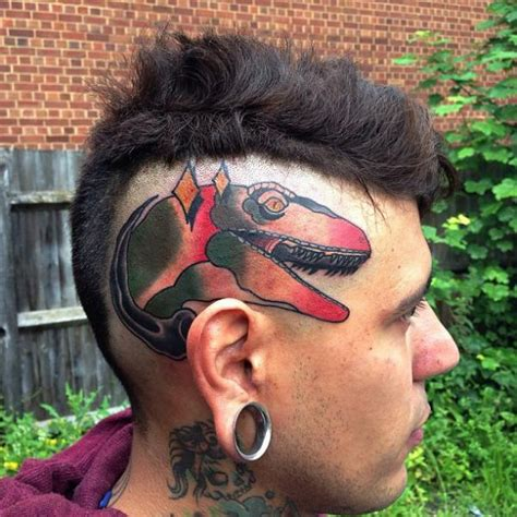 new head dinosaur tattoo by mike stocklings