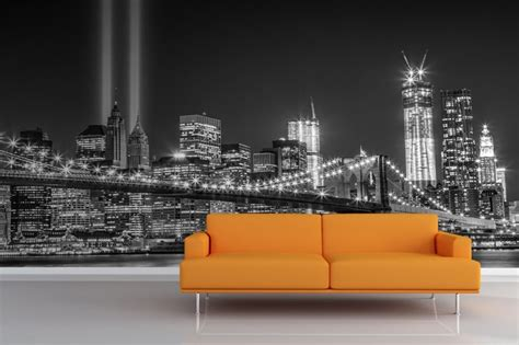 glitter wallpaper nyc new york city night greyscale trade centre glitter