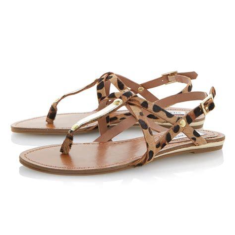 steve madden sandals flat steve madden henna pony flat sandals in brown lyst