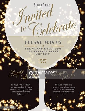 Sparkling Wine Tasting Invitation Template Design Lights In Background Vector Art Getty Images Wine Invitation Template Free