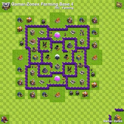 layout base coc unik th7 gamer zonex farming base 4