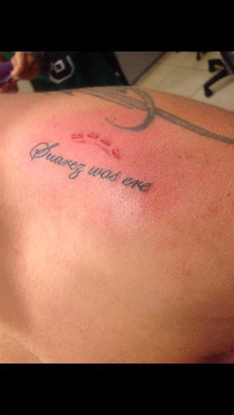 luis suarez tattoo some surely not a liverpool fan has got a craziest