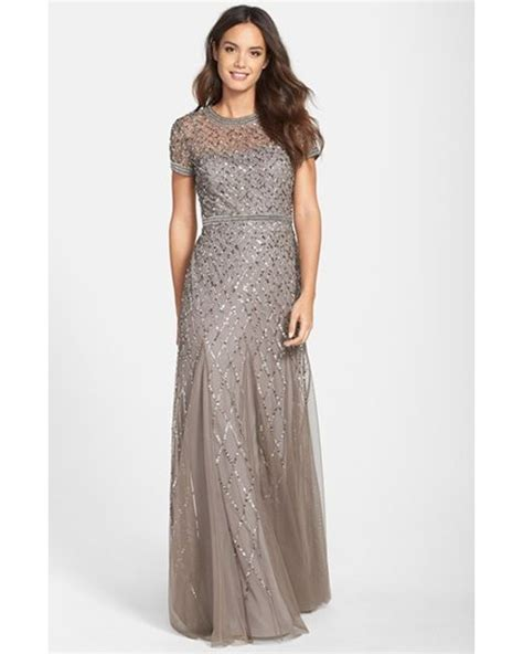 grey beaded gown papell beaded mesh gown in gray lead lyst