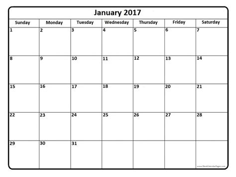 2017 Monthly Calendar Pages January 2017 Printable Calendar Page It Works